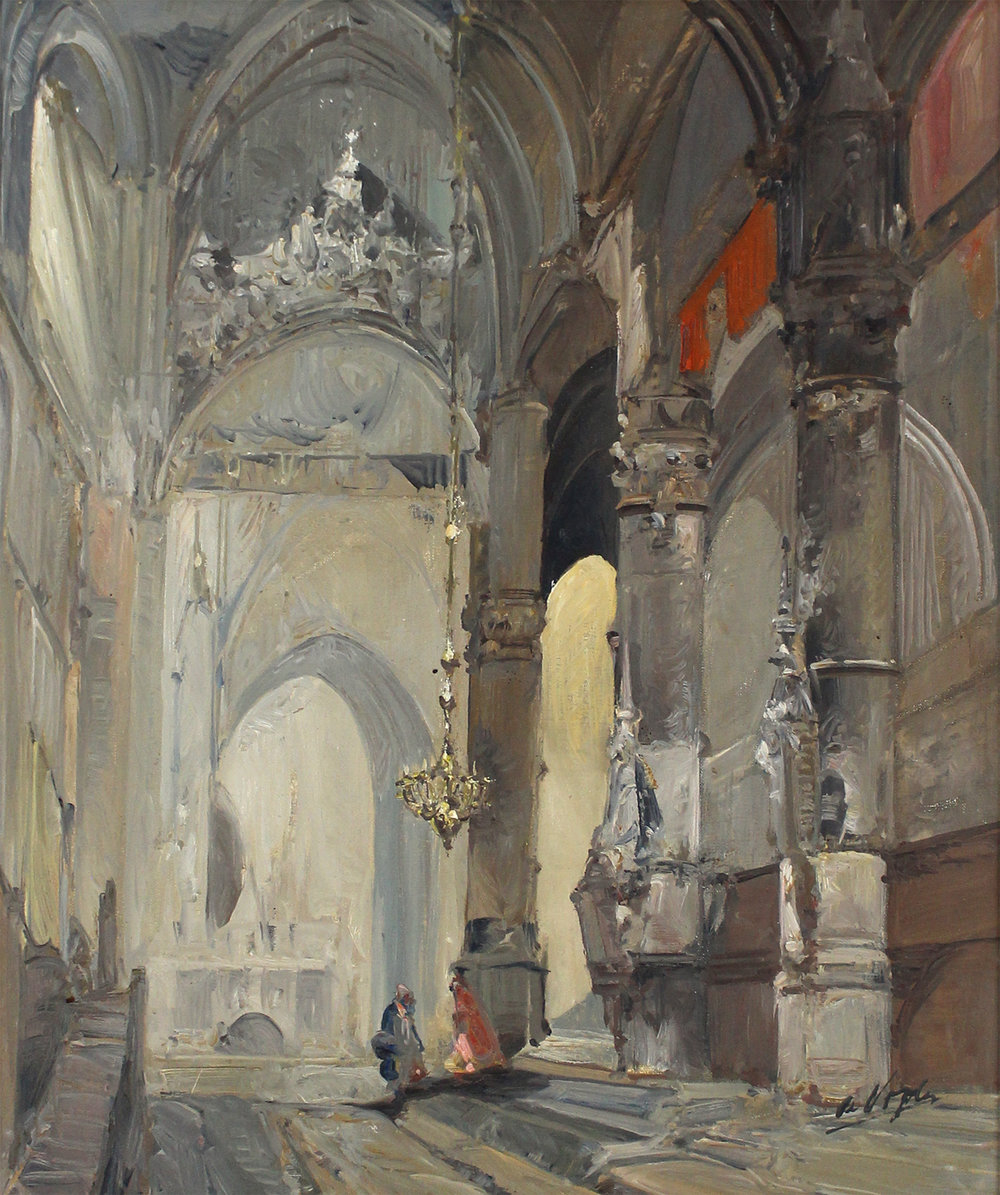 Jan De Vogel (Dutch 1909-?)Church Cathedral Interior