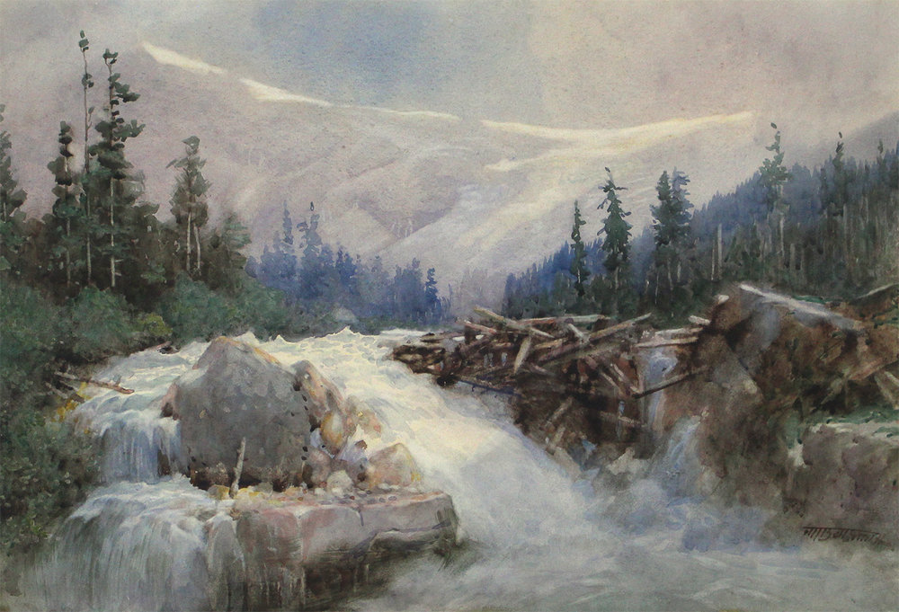 Frederic Marlett Bell-Smith (Canadian 1846-1923)Log Jam on The Illecillewaet River, Near Glacier, B.C.