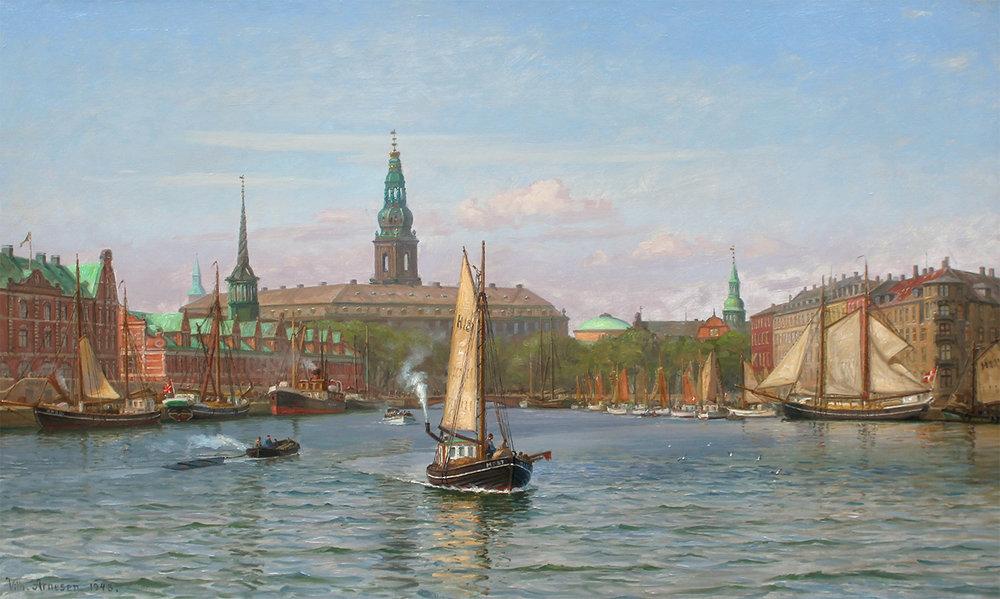 Vilhelm Arnesen (Danish 1865-1948)Copenhagen Harbour