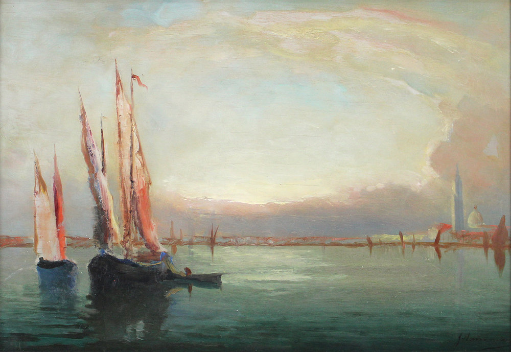 John A. Hammond, Rca, Osa (Canadian 1843-1939) 'Venice With Fishing Boats'