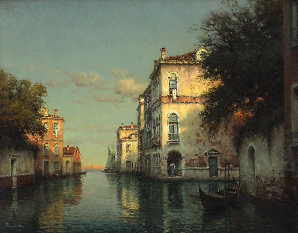 Auguste Bouvard/Marc Aldine (French 1882-1956) Backwater Venice