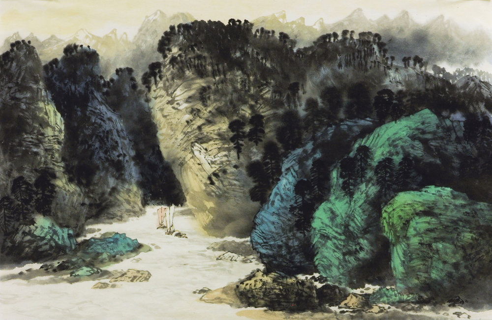 Xu Yisheng (Chinese Born 1943)  'Forest Scene with River and Cliffs'