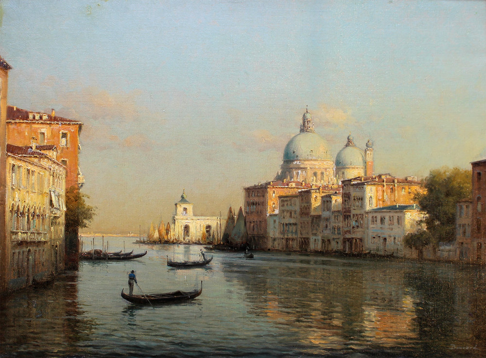 Auguste Bouvard/Marc Aldine (French 1882-1956) 'The Grand Canal, Venice, With Santa Maria Della Salute'
