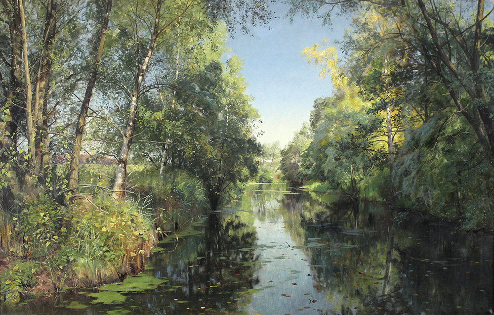 Peder M. Monsted (Danish 1859-1941) 'A Summer River Landscape 1894'
