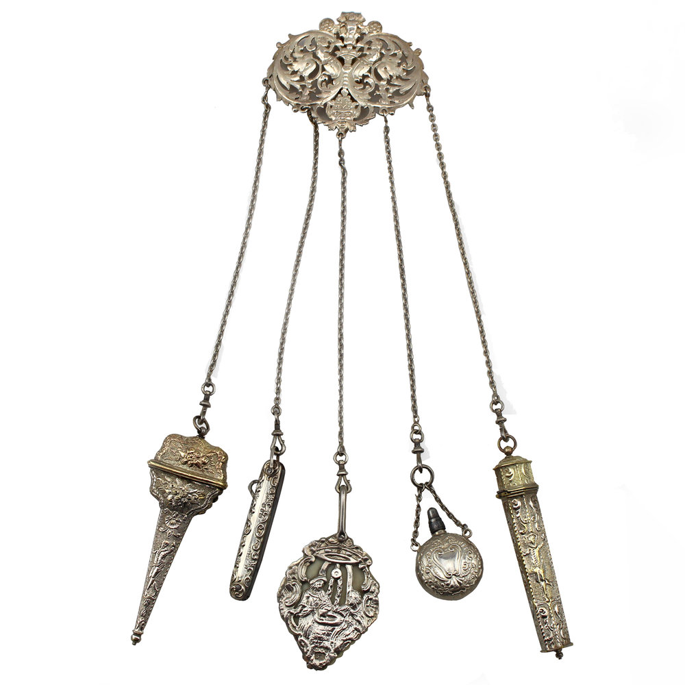 French Sterling Silver Chatelaine, Circa 1896