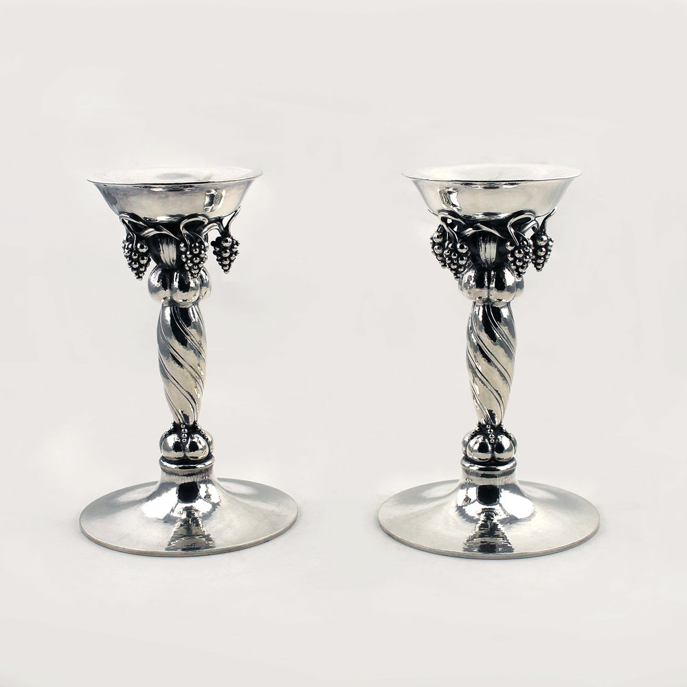 Georg Jensen Pair of Grape Pattern Sterling Silver Candlesticks,