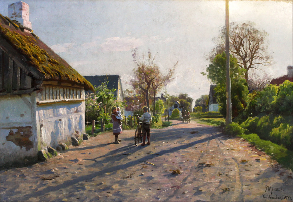 Peder M. Monsted (Danish 1859-1941) 'Late Spring Day in Vallensbæk'