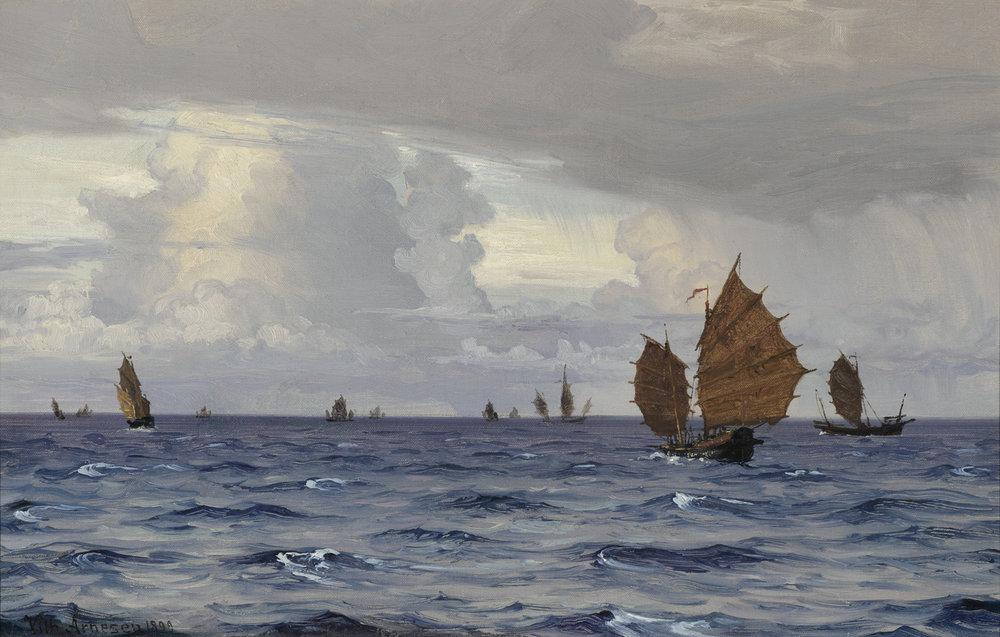Vilhelm Arnesen (Danish 1865-1948) 'Off to Singapore'