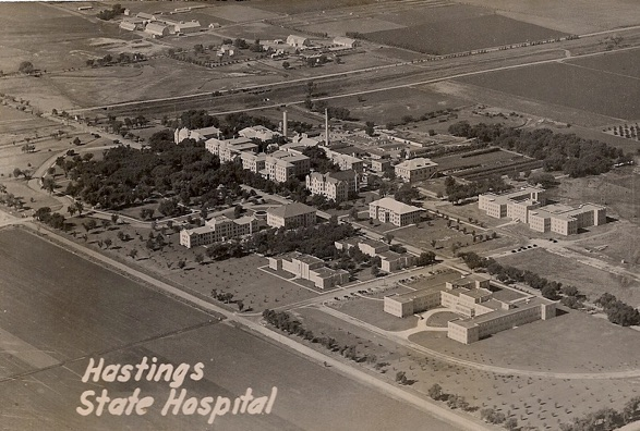 This postcard from the early 1940's shows the Hastings Regional Center grounds. Ingleside farm is at the top of the photo. The future Workshop and Loft Barn are visible top center.