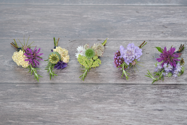 with different ingredients in each buttonhole, but a relaxed wildflower meadow theme