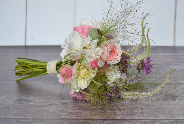 Wedding bouquet with Evelyn and Bonica rose, Dahlia, Cosmos, Scabious, Verbena, Veronicastrum and grasses