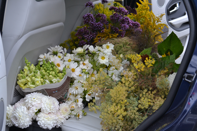 Wedding flowers in a car.jpg