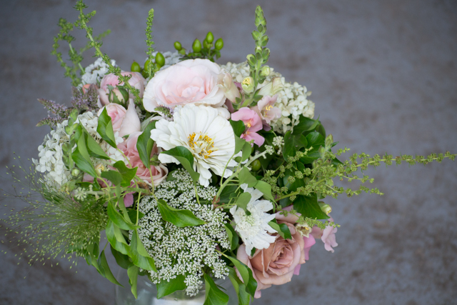 Bridal bouquet with all the goodies from the field and garden.