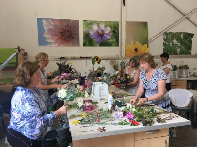 Intent on bouquet making