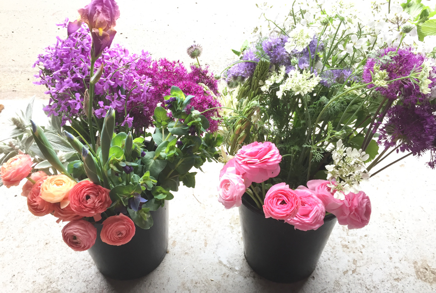 May buckets of flowers