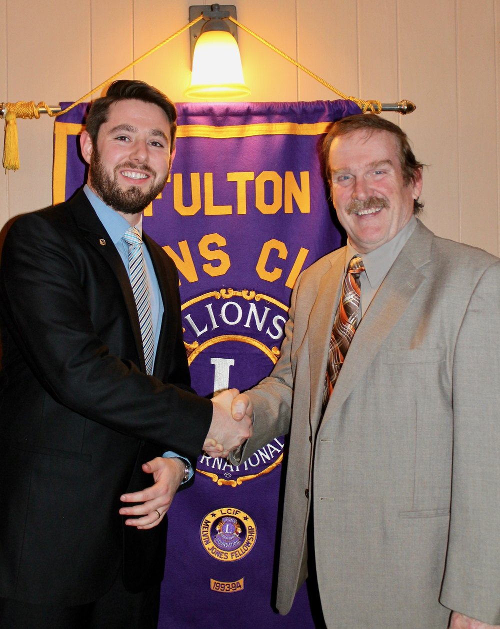 Fulton Lions President Zachary Merry, right, thanks James Karasek, advocacy manager, ARISE Oswego County office, for his presentation on diabetes awareness and treatment at the club's November meeting. Karasek discussed his personal experiences with diabetes, as well as the ARISE Diabetes Self-Management Program, open to people with disabilities and type 2 diabetes. Topics include: techniques to handle fatigue, stress, pain and emotions; improving strength and endurance; healthy eating, proper monitoring,; appropriate use of medication; skin and footcare; and questions to ask your healthcare provider. Karasek can be reached at (315) 324-4088, ex. 206, or at jkarasek@ariseinc.org.