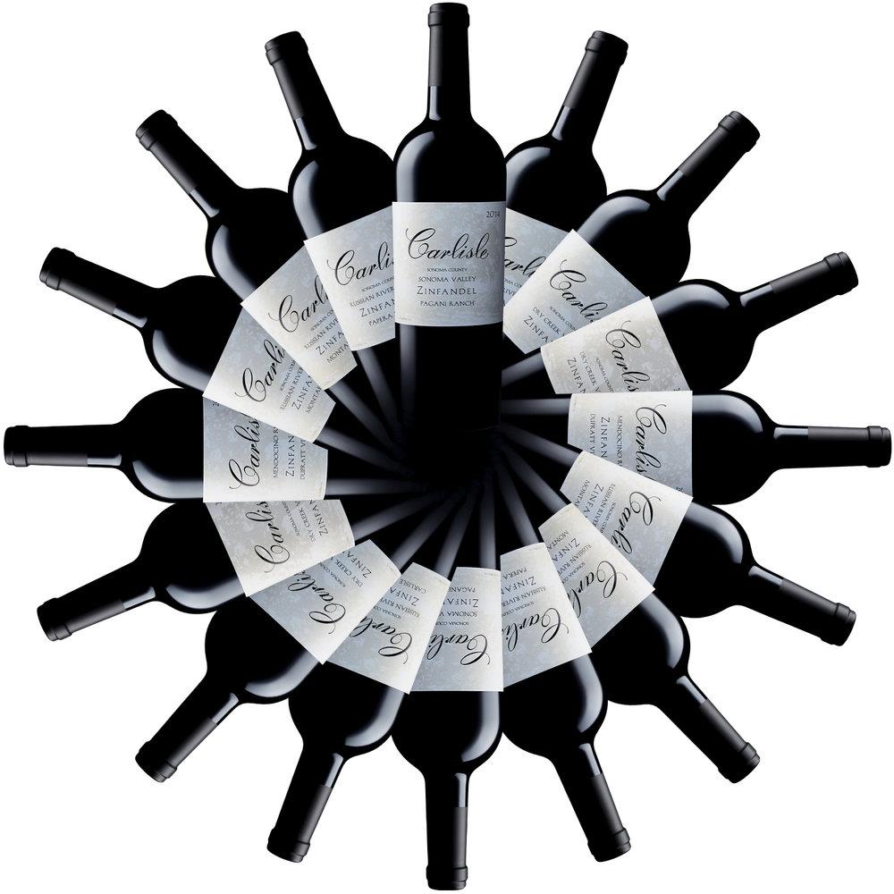 Sonoma Bottle Shot Photography of Carlisle Winery Zinfandel series.