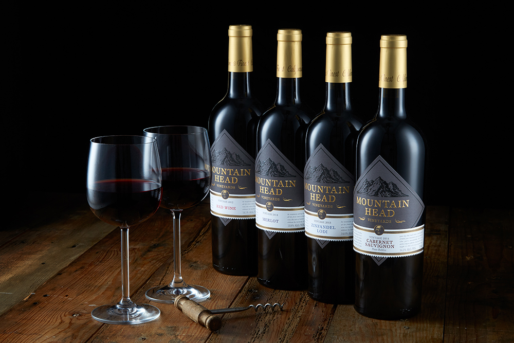 Group Bottle Photography shot in Sonoma County, California by Sonoma Bottle for Mountain Head Winery.