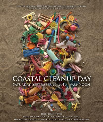California Coastal Cleanup Poster 2010 Vintage.