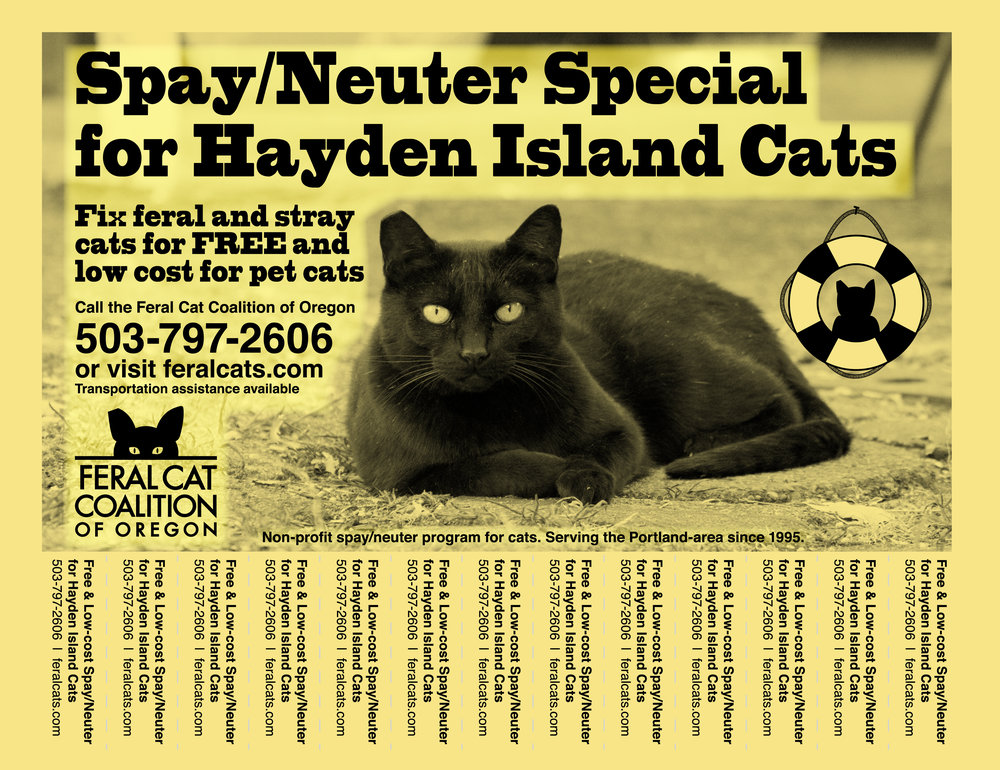 Spay/Neuter promotion for Hayden Island.