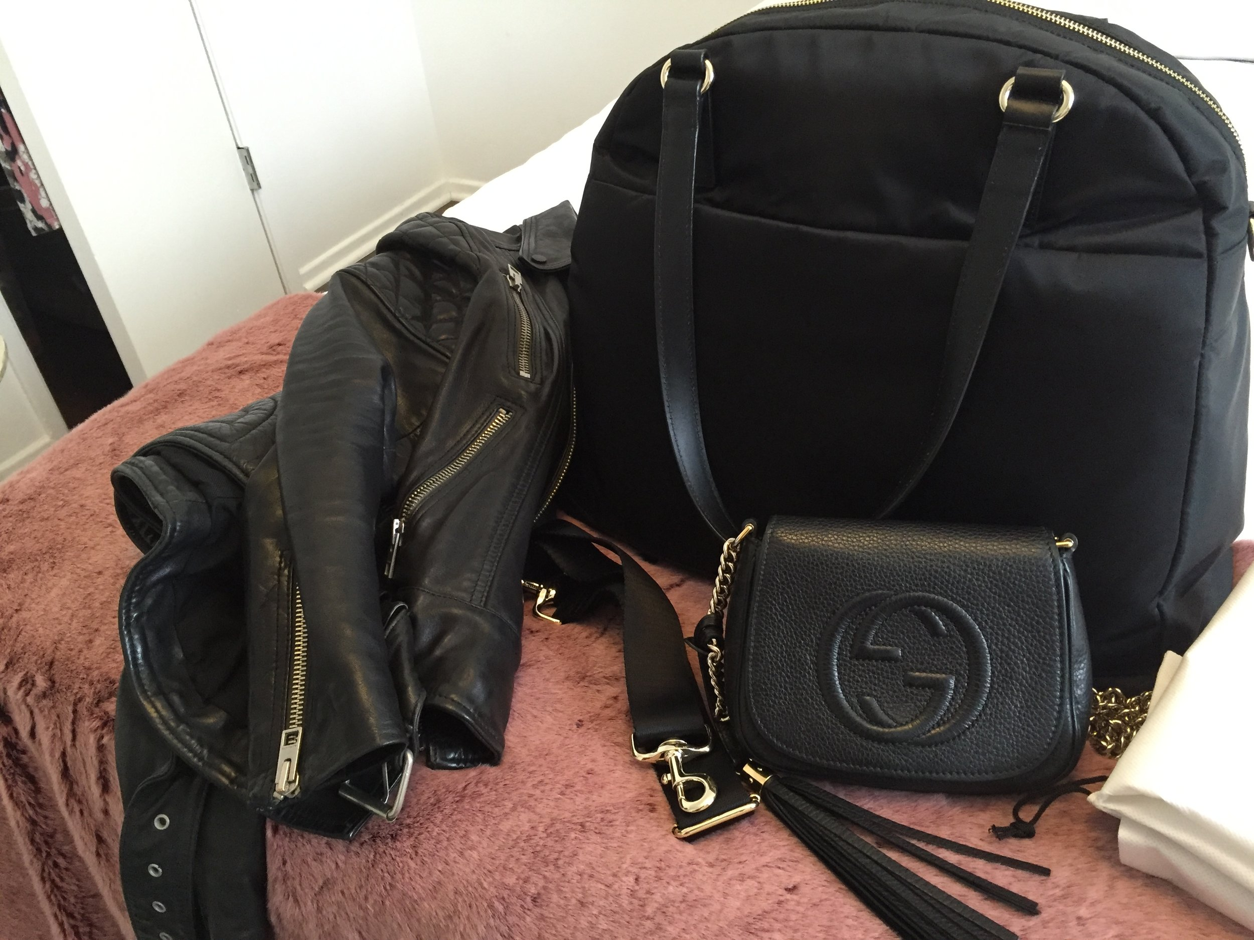 Leather Jacket, Gucci Purse, Carryon Bag