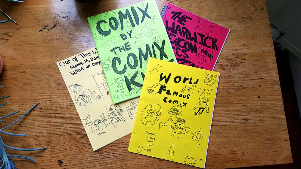 Covers from collections of student comic work. Grades K - 8.