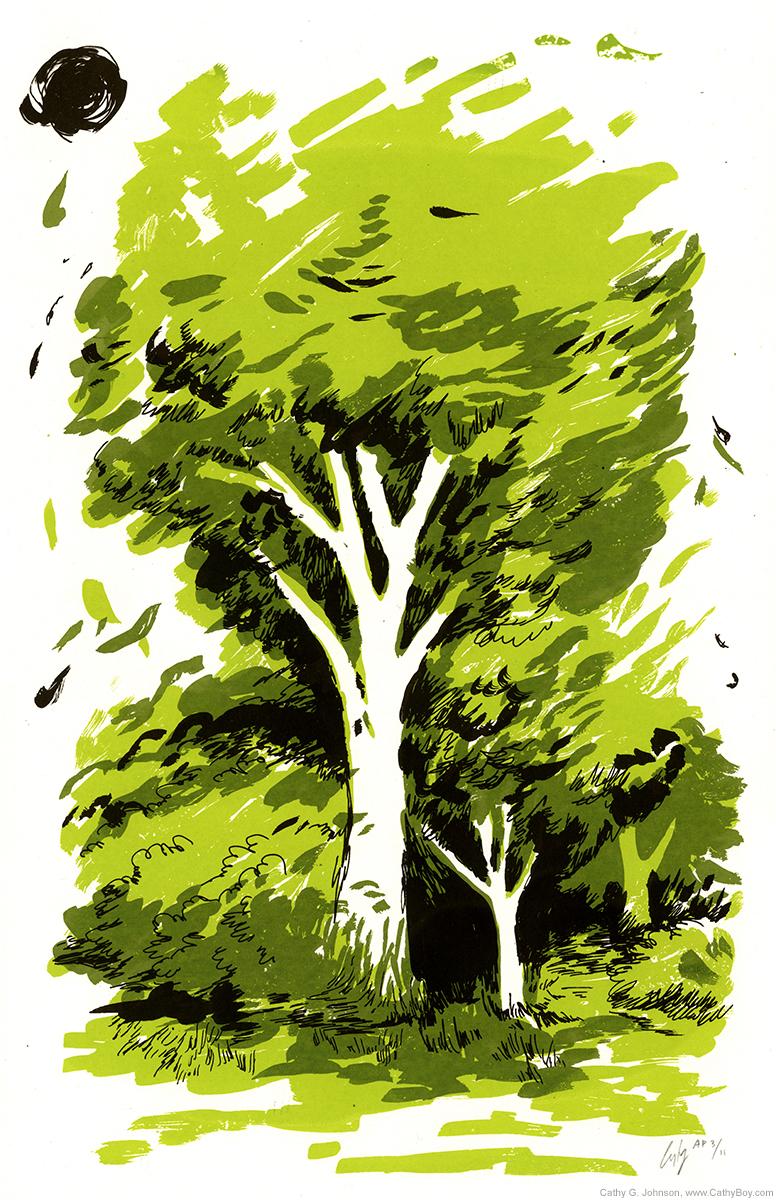 Spring Trees, Black Sun