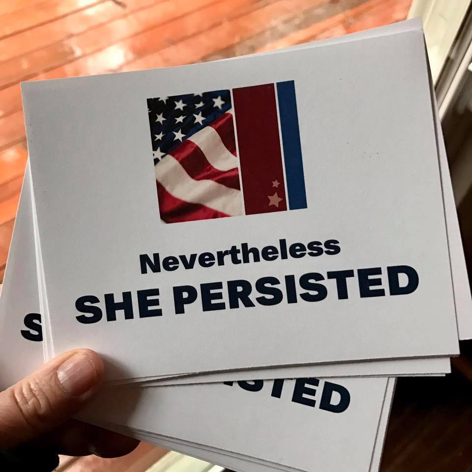 Member Sheila Cameron has made postcards you can download and print to send to our elected officials.  Download Nevertheless She Persisted and Miss Get Over It 2017.