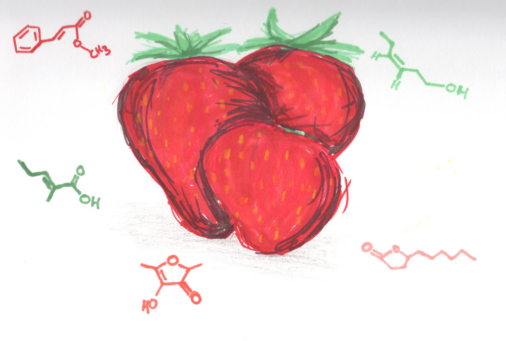 Methyl Cinnamate + Furaneol + 2-Methyl-2-pentenoic Acid + cis-3-Hexenol + gamma-Decalactone = Strawberry