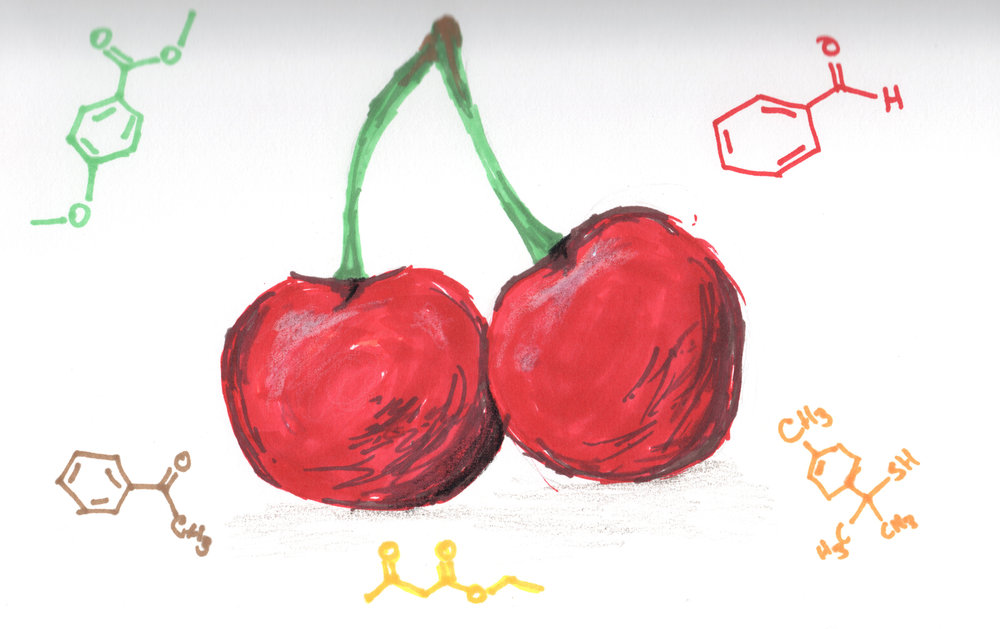Benzaldehyde + p-Methyl Anisate + Acetophenone + Ethyl Aceto Acetate + p-Methene-8-thiol = Cherry