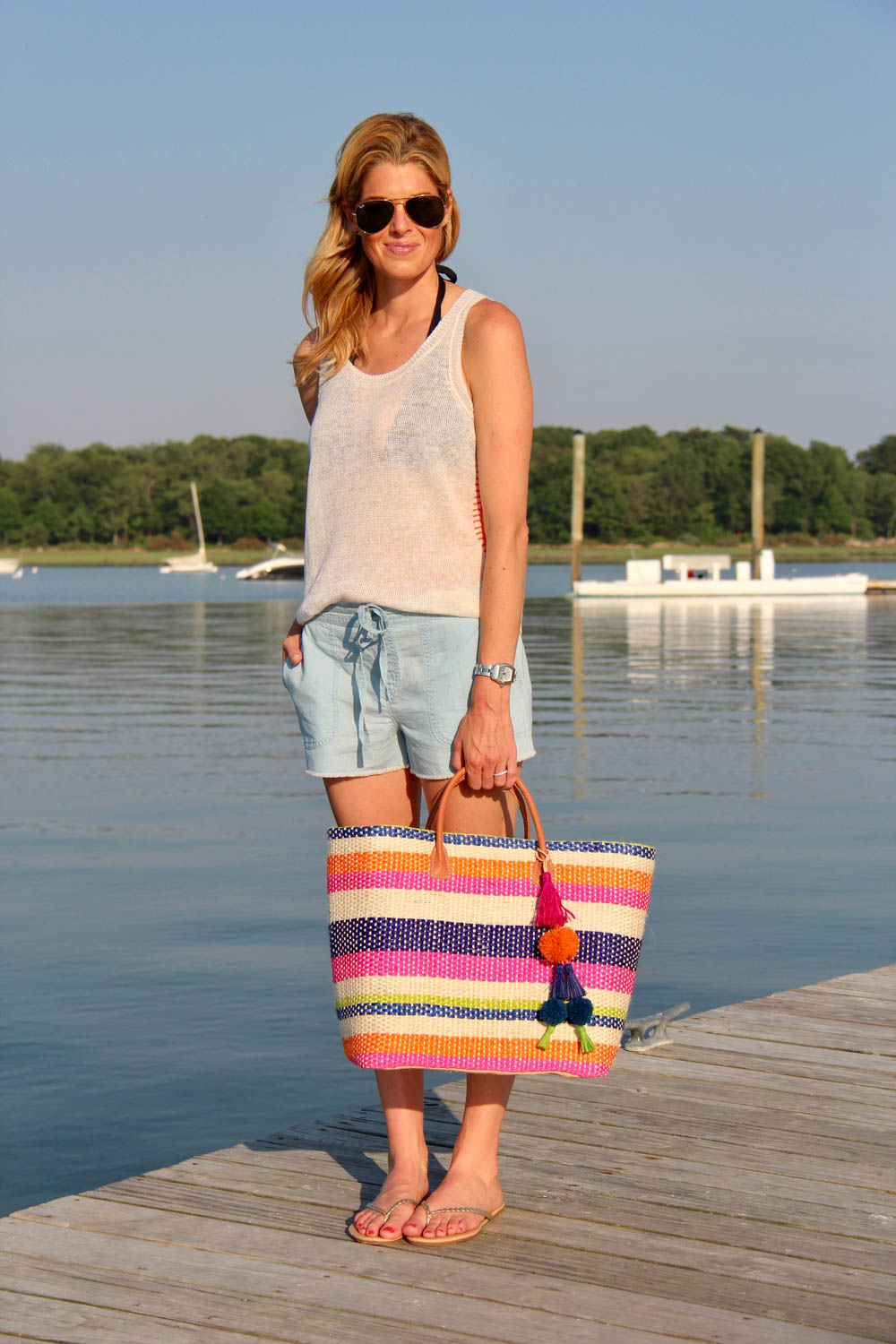 WHITE + WARREN STITCH TANK | $143 SOFT JOIE KALPANA CHAMBRAY SHORTS | $148 MISA TOTE | $120