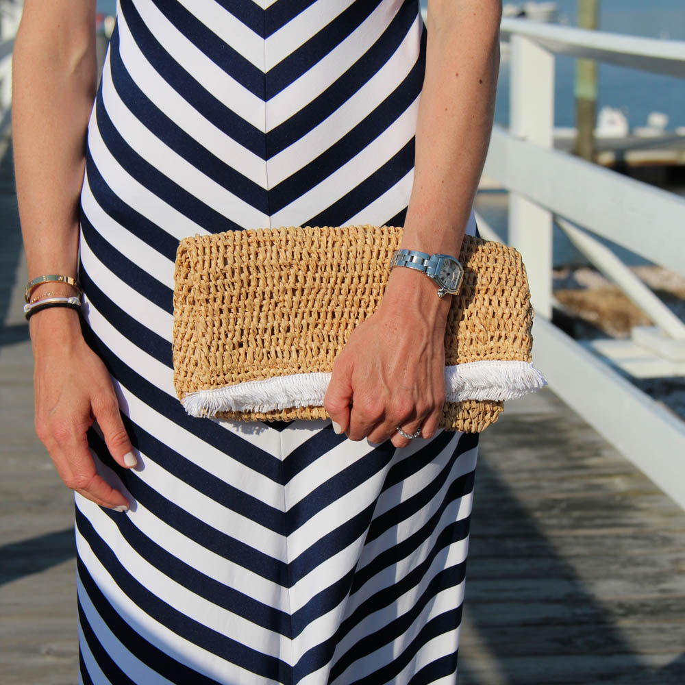 SUSANA MONACO MAE STRIPED DRESS | $286 HAT ATTACK CLUTCH| $94