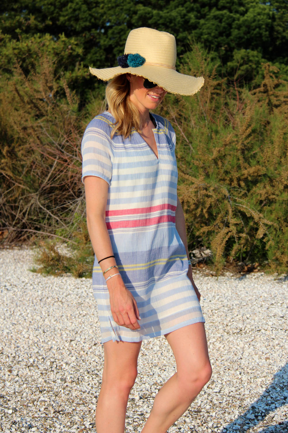SOFT JOIE JEANA DRESS | $198 HAT ATTACK BRAIDED POM POM HAT | $105