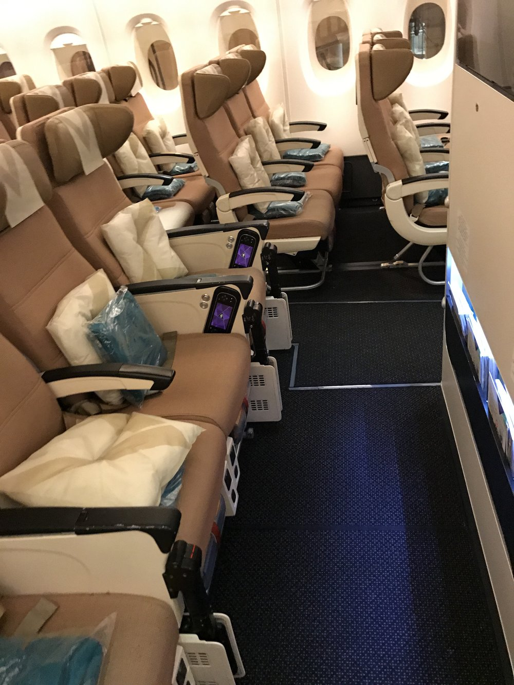 - I was impressed with Etihad Economy 'Smart Seats' in the Airbus 380 and Boeing 787. They have a unique headrest that acts as a shoulder to learn on and surprinsingly generous recline and enough legroom space! Inflight meals with a choice of three main courses and a vegetarian option.