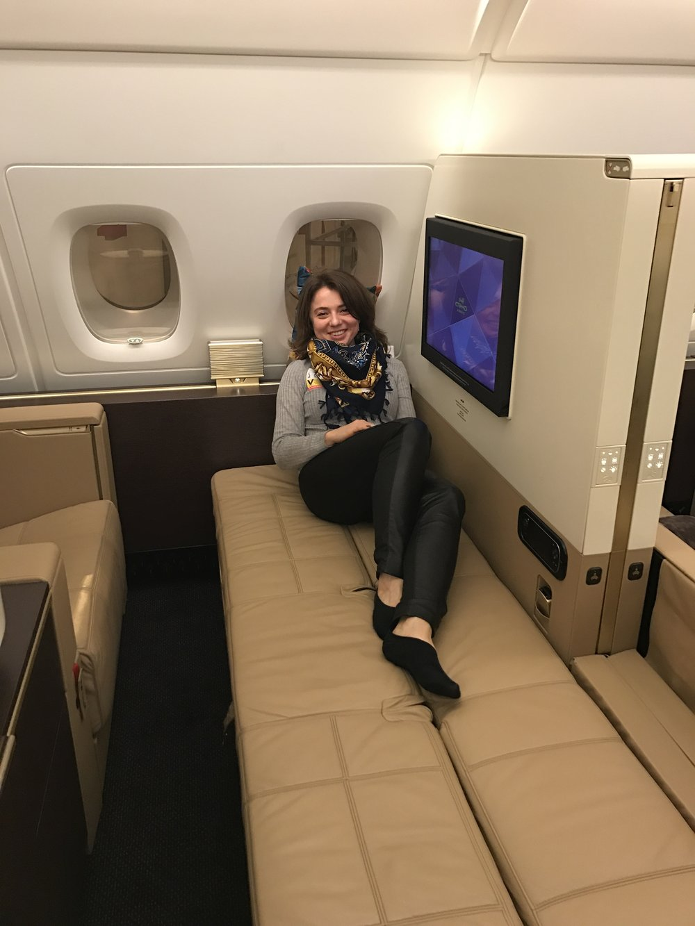 - As a First Class guest, I felt myself indulge with luxury and was a truly remarkable experience. Every element of your journey will be unforgettable with the greatest levels of comfort. Separate armchair and a 6-foot 9 inch bed will make you feel at home!  Inflight Chef is ready to personalise a menu just for you. You have a personal wardrobe to hang your suit. You can enjoy a full height shower and exclusive amenities. You will feel total privacy as you close your sliding doors to enjoy the most personal of spaces. Travelling with a companion? You can also open the divider to join suites.