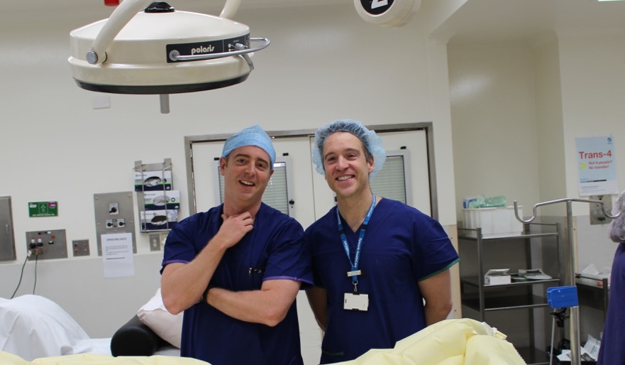 Here is Dr. Tim Hucker (left) and Dr. Nick Christelis (right) shortly after the first case was performed.