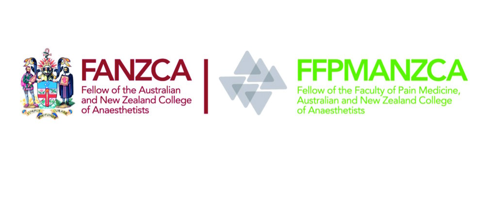 This is what the pain and anaesthetics logos look like from the Australian and New Zealand College of Anaesthetists.