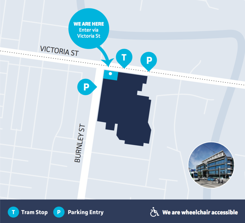 We are on the corner of Victoria St and Burnley St in Richmond, with entry on the Victoria St side. Enter the building and proceed to Level 4 – Pain Specialists Australia via the elevator.