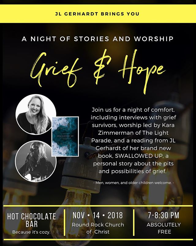 Austin friends! I'd love to see you Wednesday night! I'll share a little of my grief journey throughout the songs and I cannot WAIT to hear from my  friend @jlgerhardt_godscout who's hosting the evening. She was with me through the freshness of grief after losing my mom. She drove 3 hours with her husband and two little girls to my mom's funeral, never having met her. And a week later, made the same drive to my wedding. I sat across from her time after time crying, afraid I'd never even be able to laugh or smile or be myself again. Sad that I wasn't the new wife I had hoped I'd be. She mostly listened. And when she gave advice, I listened. She entered into my grief because she knew it all too well... And to say I'm honored to share the stage with her Wednesday night is an incredible understatement. I cannot wait ❤️