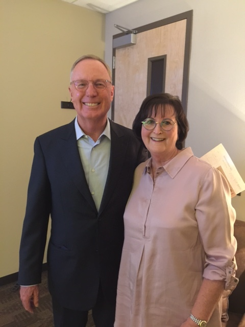 "Karen and her ""Brother-Boss"" Max Lucado"