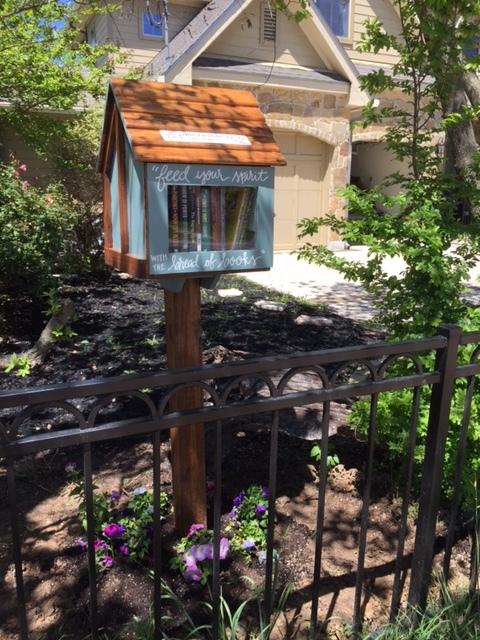 The free little library in Karen's frontyard :-)