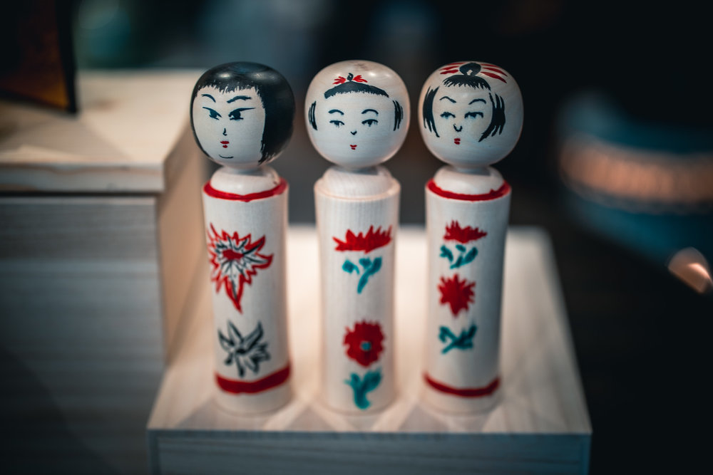 Corey's, Vicki's and my attempt at painting our first kokeshi doll