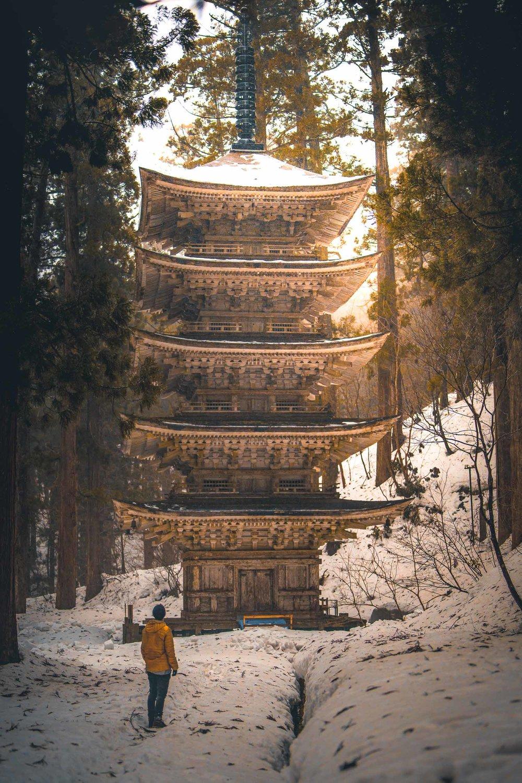 Corey admiring the 5 Story Pagoda at the base of Mount Haguro