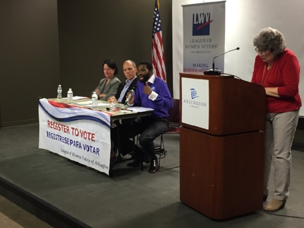 County Board Candidates Audrey Clement, Eric Gutshall, Charles McCullough, and LWV member, Joan Porte.