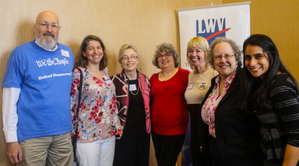 L-R: Treas. Don Gurney, VicePres. Mary Voulgaris, *Mary Tate, Pres. Joan Porte, Past Pres. Kathy Matusiak, *Natalie Golldring, Secretary Seema Jain. [* Director]