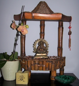 This Prosperity Altar, decorated with   Ganesh   and   Feng Shui Money drawing item   s , is positioned at the entryway so that it is the first and last thing you see when you are entering and exiting your home. This theme is perfect for anyone working on scarcity issues.