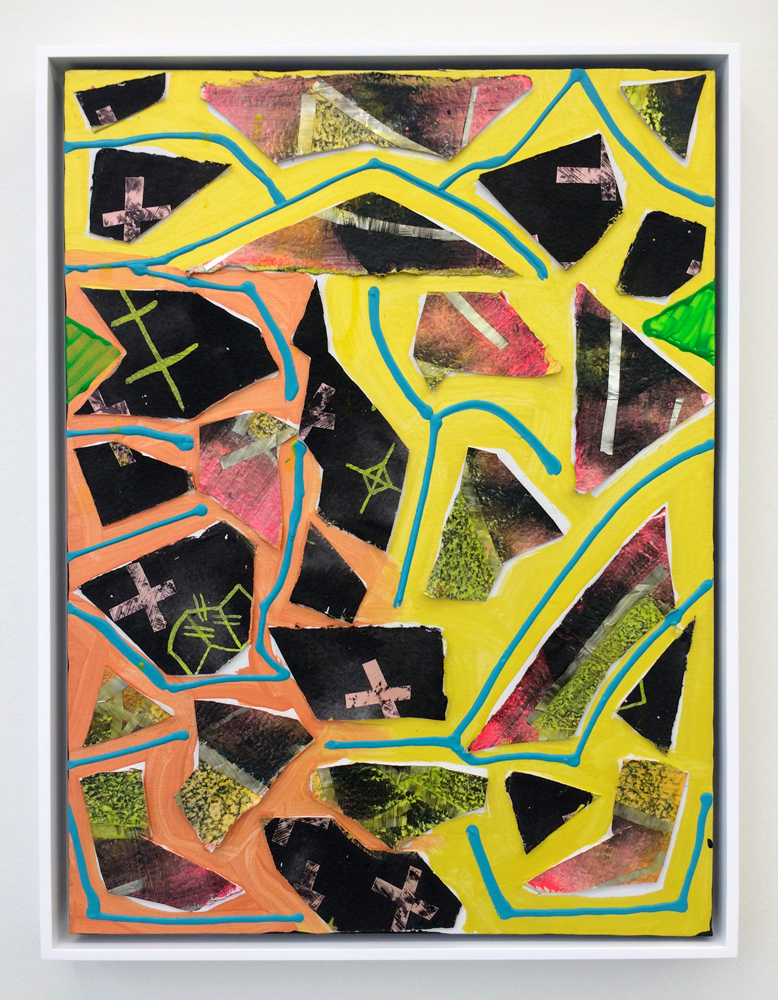 "Flakes , 2012. acrylic and paper on canvas, 24"" x 18"""