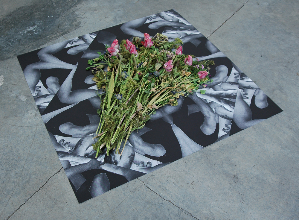 "DERIC CARNER  If I Die,  vinyl print and flowers, 48"" x 48"", 2014"