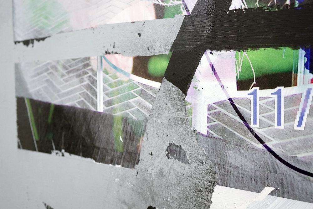 "FACUNDO ARGAÑARAZ  (detail) Untitled (FA01-17) , acrylic and pigment print on canvas, 66"" x 48"", 2017"