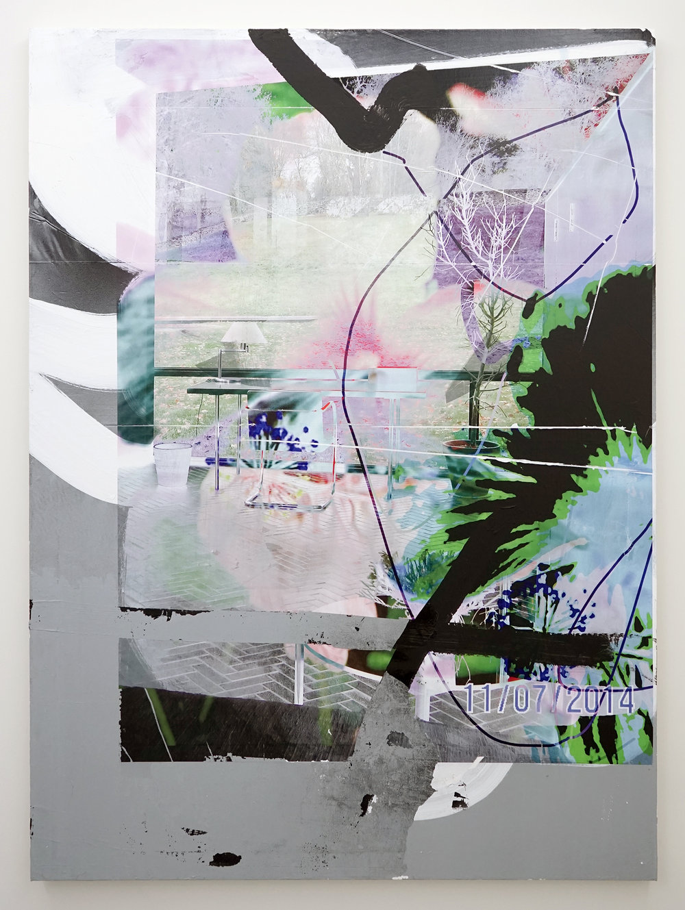 "FACUNDO ARGAÑARAZ   Untitled (FA01-17) , acrylic and pigment print on canvas, 66"" x 48"", 2017"